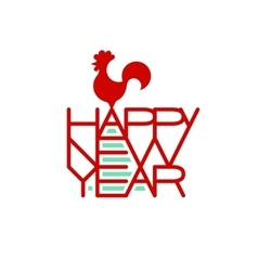 Rooster standing on the words Happy New Year vector image vector image