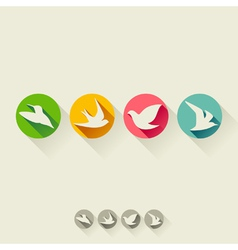 Set of birds Flat icons with long shadow vector image vector image