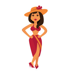 Tanned brunette woman in maroon swimsuit and straw vector