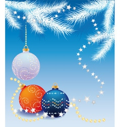 blue christmas background with christmas tree ball vector image vector image