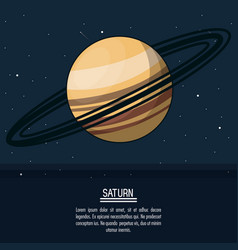 colorful poster with planet saturn vector image
