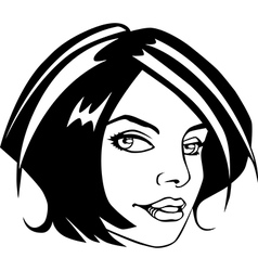 Comic book style girl face vector image