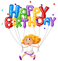 happy birthday card with girl and balloons vector image vector image
