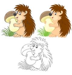 Hedgehog mushroomer vector image vector image