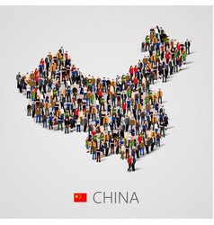 Large group of people in china map form vector