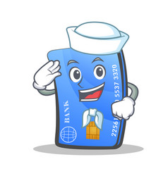 sailor credit card character cartoon vector image vector image