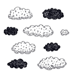 set of hand drawn clouds vector image