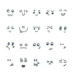 Sketched facial expressions set Set of hand drawn vector image vector image