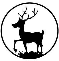 cute deer silhouette vector image vector image