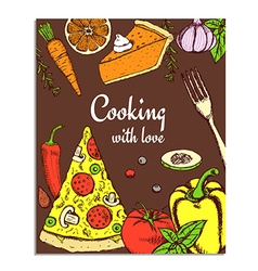 Sketch cooking card vector image