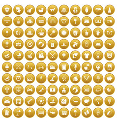 100 nursery icons set gold vector image