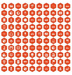 100 technology icons hexagon orange vector