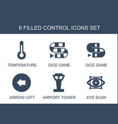 6 control icons vector