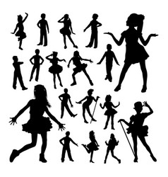 adorable children dancing silhouettes vector image