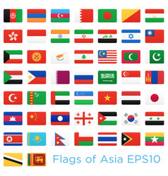 asian countries flags icons set vector image