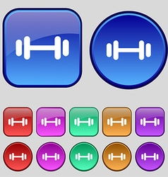 Barbell icon sign A set of twelve vintage buttons vector