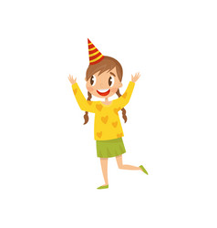 beautiful girl in party hat having fun at birthday vector image