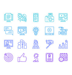 blog channel online simple line icons set vector image