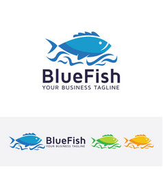 blue fish logo design vector image
