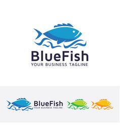 Blue fish logo design vector