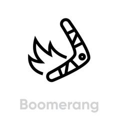 boomerang on fire icon editable line vector image