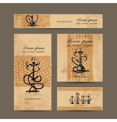 Business cards design with hookah sketch vector