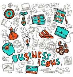 Business icons doodle sketch vector