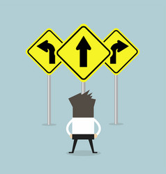 businessman standing on three way arrows road sign vector image