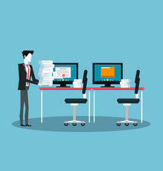 businessman working avatar vector image