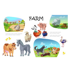 cartoon farm animals composition vector image