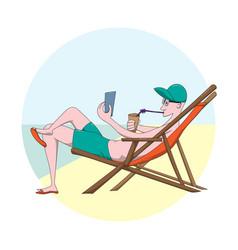 Cartoon man sunbathes on beach guy relaxes on sun vector