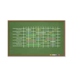 chalk board with schedule vector image