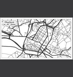 Charleroi belgium city map in black and white vector