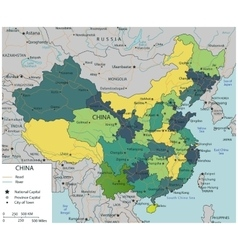 China map with selectable territories vector