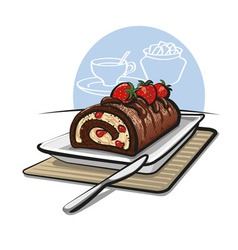 Chocolate roll cake with strawberries vector