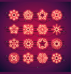 christmas neon snowflakes red vector image