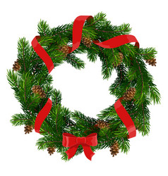 Christmas wreath with red bow and ribbon vector