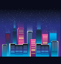 cityscape buildings with neons lights vector image
