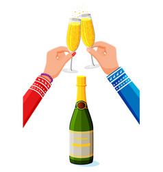 clinking glass in hands bottle of champagne vector image