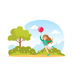 cute girl with balloon walking in park vector image
