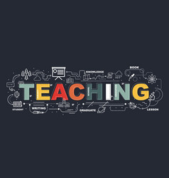 design concept of word teaching website banner vector image