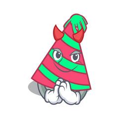 Devil party hat mascot cartoon vector
