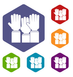 different people hands raised up icons set hexagon vector image