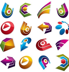 Dimensional app buttons Collection of arrows vector image