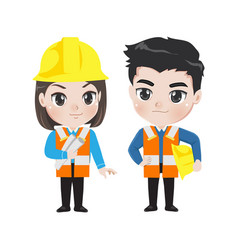 engineer man and woman vector image