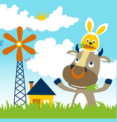 Farmyard cartoon with funny animals cow and rabbit vector