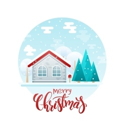 flat style country house with spruces vector image