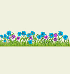 flowers of different colors in one row vector image