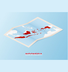 Folded paper map indonesia with neighboring vector