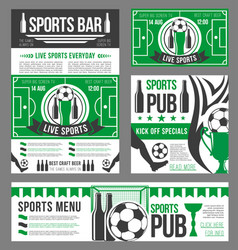 Football sport pub banner of soccer ball and beer vector